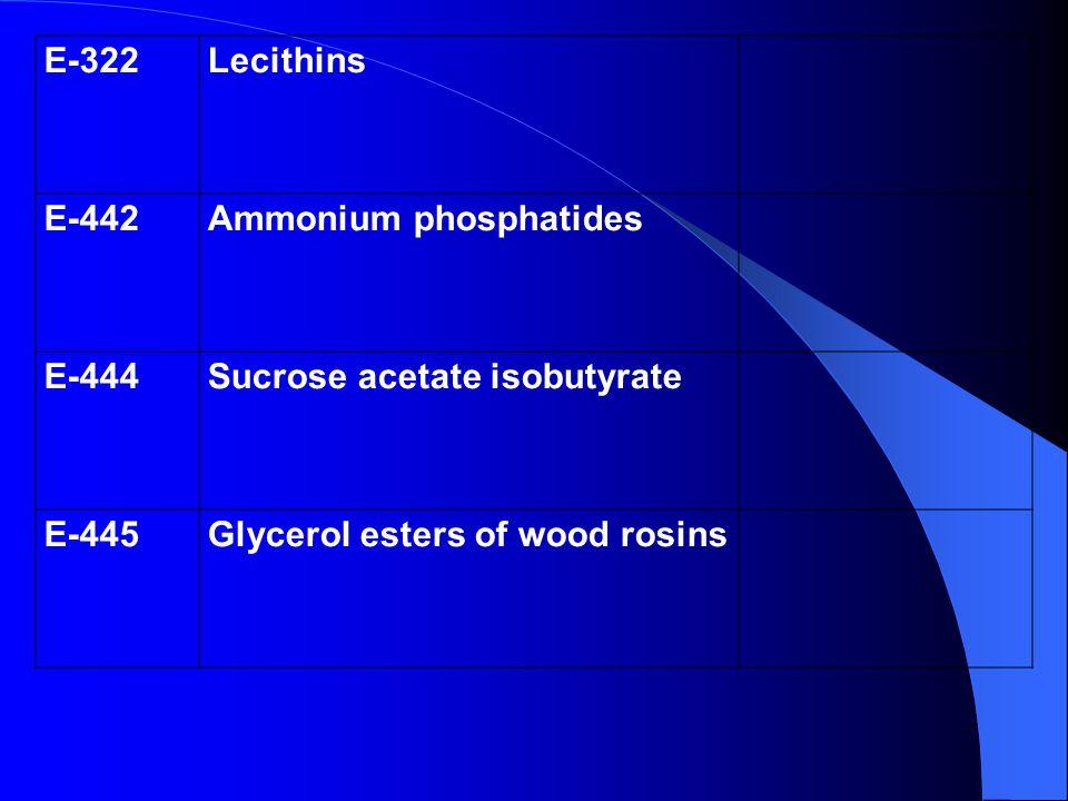 E-322Lecithins E-442Ammonium phosphatides E-444Sucrose acetate isobutyrate E-445Glycerol esters of wood rosins