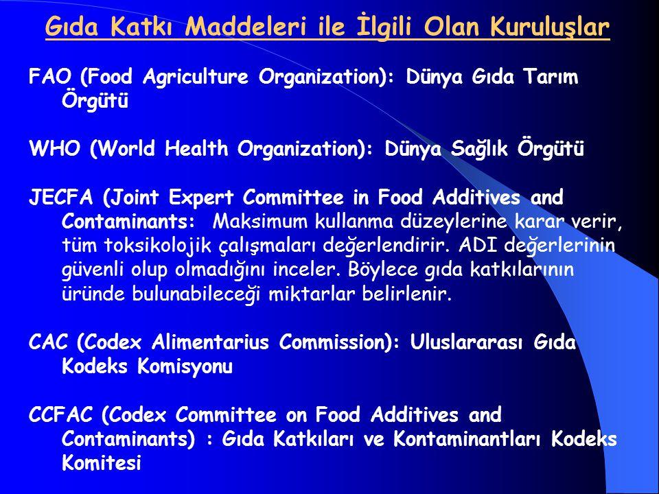 Gıda Katkı Maddeleri ile İlgili Olan Kuruluşlar FAO (Food Agriculture Organization): Dünya Gıda Tarım Örgütü WHO (World Health Organization): Dünya Sa