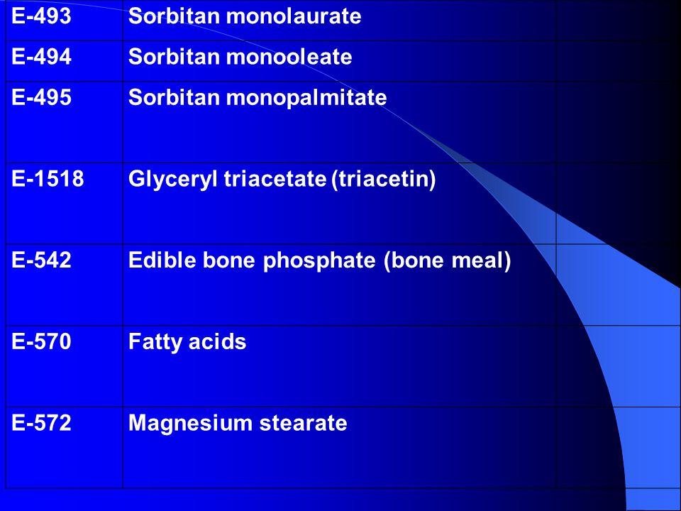 E-493Sorbitan monolaurate E-494Sorbitan monooleate E-495Sorbitan monopalmitate E-1518Glyceryl triacetate (triacetin) E-542Edible bone phosphate (bone