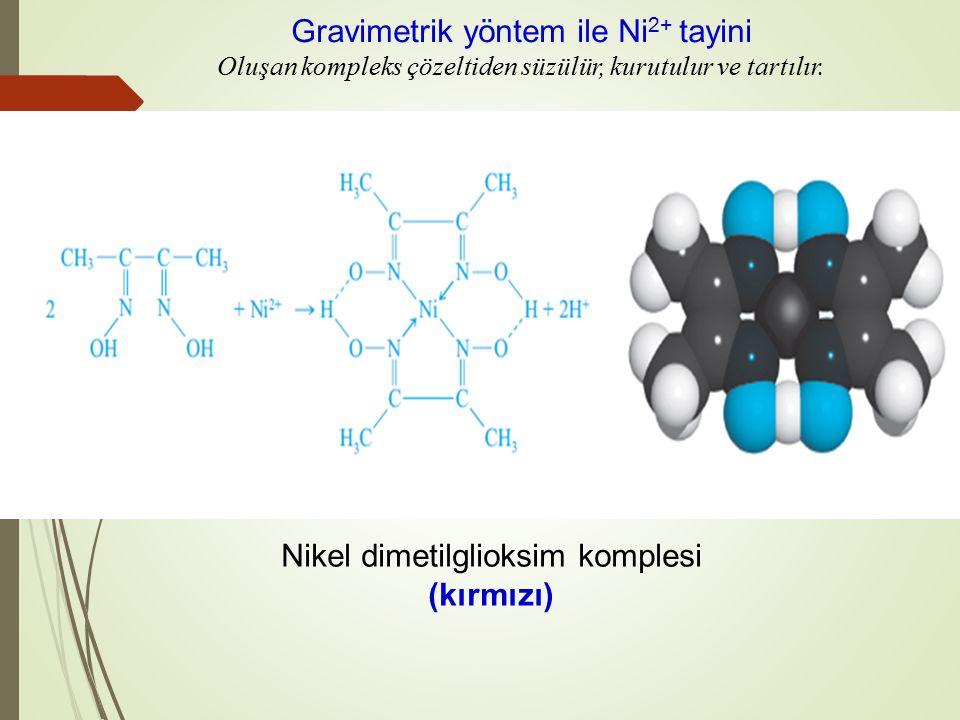 Nikel dimetilglioksim komplesi (kırmızı) Gravimetrik yöntem ile Ni 2+ tayini Oluşan kompleks çözeltiden süzülür, kurutulur ve tartılır.