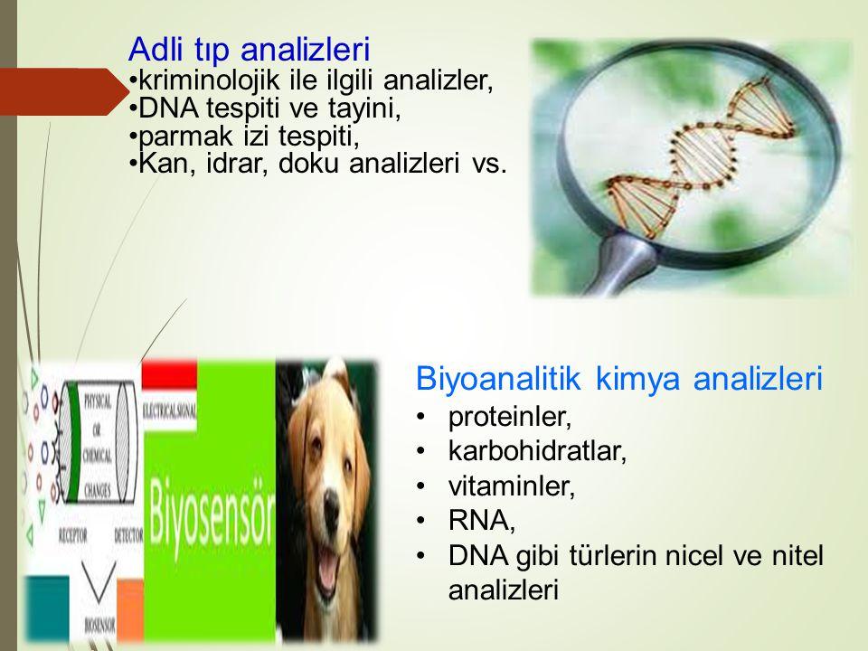 Adli tıp analizleri kriminolojik ile ilgili analizler, DNA tespiti ve tayini, parmak izi tespiti, Kan, idrar, doku analizleri vs. Biyoanalitik kimya a