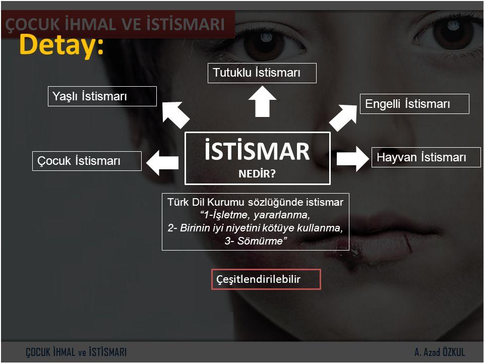 """A. Azad ÖZKULÇOCUK İ HMAL ve İ ST İ SMARI ÇOCUK İHMAL VE İSTİSMARI Detay: İSTİSMAR NEDİR? Türk Dil Kurumu sözlüğünde istismar """"1-İşletme, yararlanma,"""