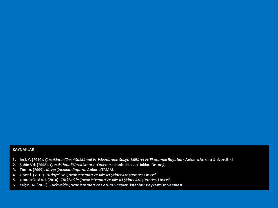 KAYNAKLAR 1.İnci, Y. (2010). Çocukların Cinsel Suistimali Ve İstismarının Sosyo-kültürel Ve Ekonomik Boyutları. Ankara: Ankara Üniversitesi 2.Şahin Vd