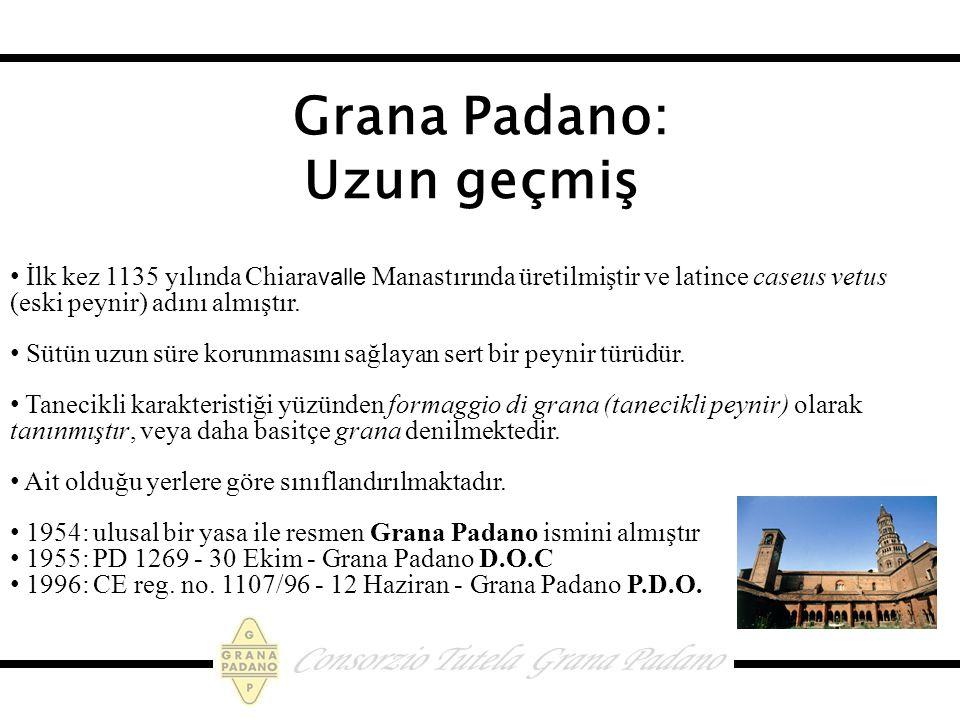 Grana Padano: Uzun geçmiş İlk kez 1135 yılında Chiara valle Manastırında üretilmiştir ve latince caseus vetus (eski peynir) adını almıştır.