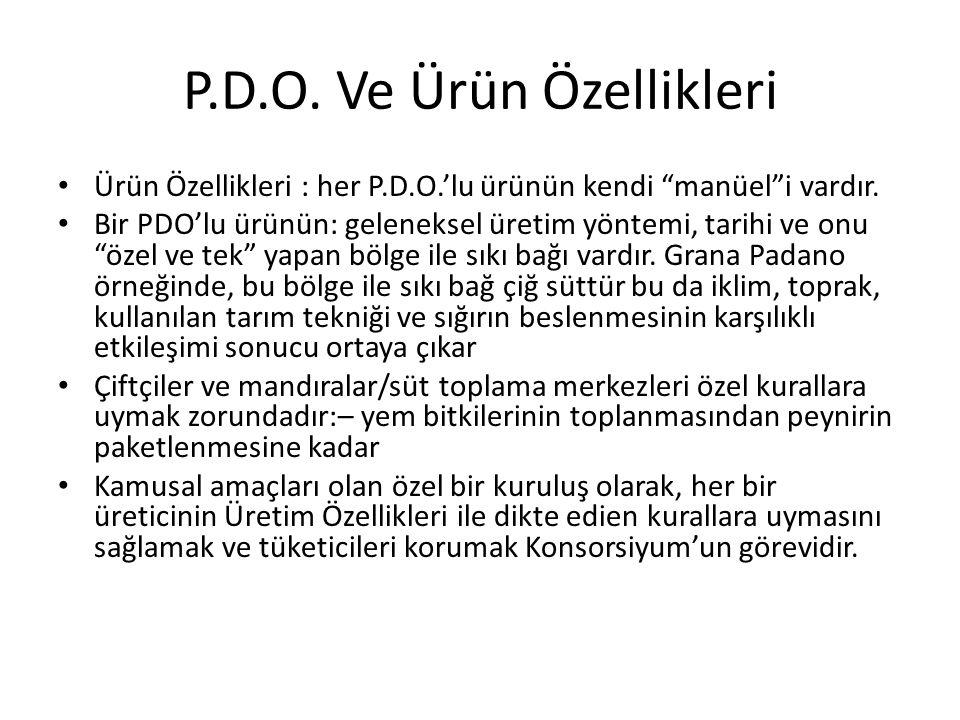 P.D.O.Ve Ürün Özellikleri Ürün Özellikleri : her P.D.O.'lu ürünün kendi manüel i vardır.