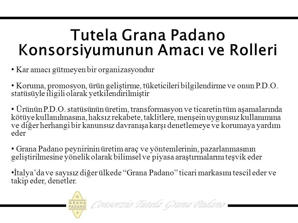 Tutela Grana Padano Konsorsiyumunun Amacı ve Rolleri Kar amacı gütmeyen bir organizasyondur Koruma, promosyon, ürün geliştirme, tüketicileri bilgilendirme ve onun P.D.O.