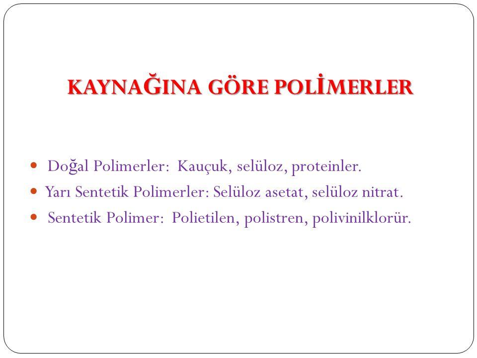 KAYNA Ğ INA GÖRE POL İ MERLER Do ğ al Polimerler: Kauçuk, selüloz, proteinler.
