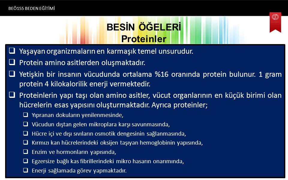 BESİN ÖĞELERİ Proteinler  Yaşayan organizmaların en karmaşık temel unsurudur.