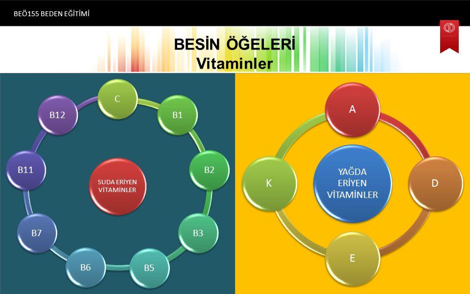 BESİN ÖĞELERİ Vitaminler BEÖ155 BEDEN EĞİTİMİ SUDA ERİYEN VİTAMİNLER CB1B2B3B5B6B7B11B12 YAĞDA ERİYEN VİTAMİNLER ADEK