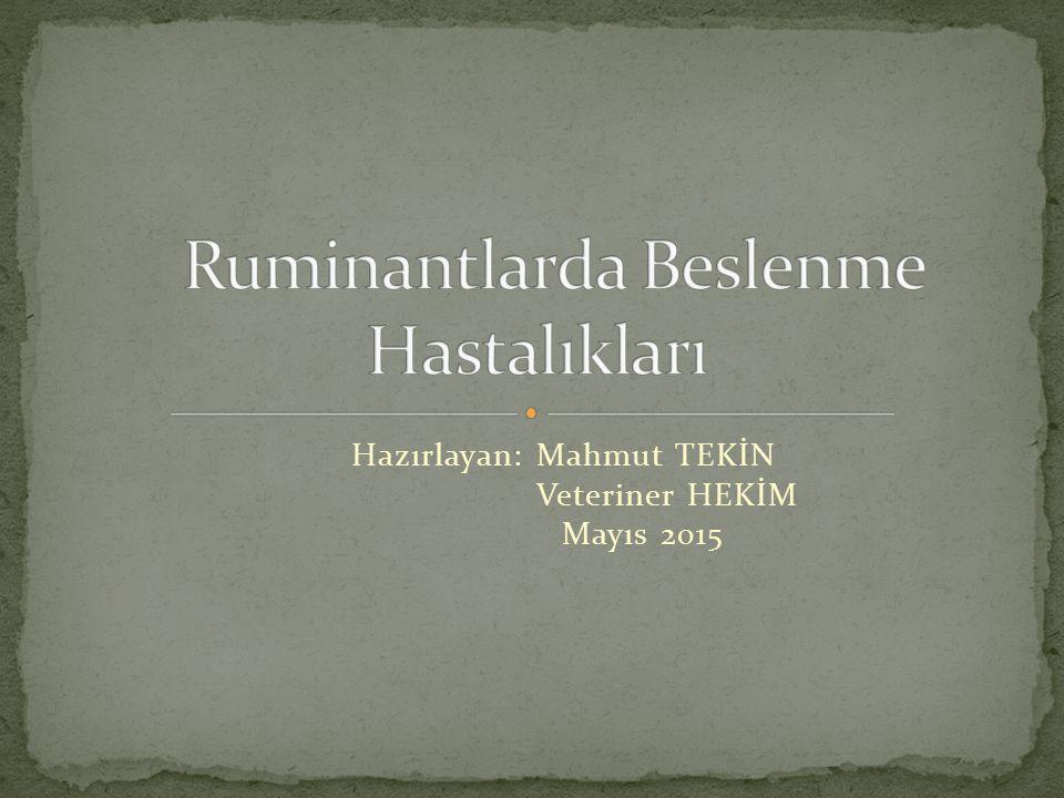 Hazırlayan: Mahmut TEKİN Veteriner HEKİM Mayıs 2015