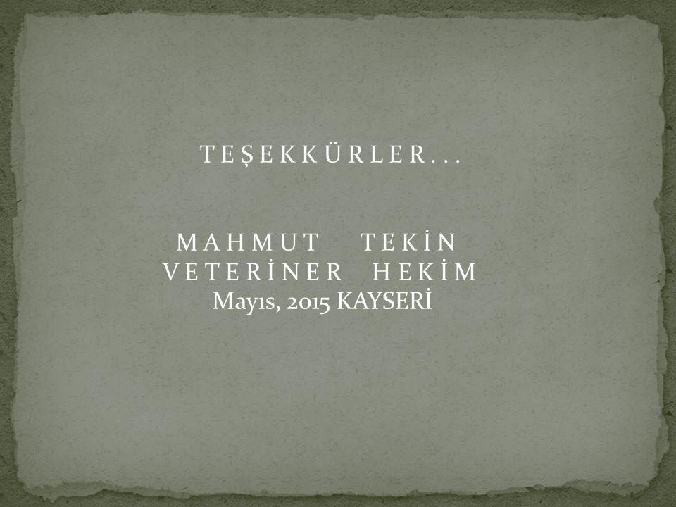T E Ş E K K Ü R L E R... M A H M U T T E K İ N V E T E R İ N E R H E K İ M Mayıs, 2015 KAYSERİ