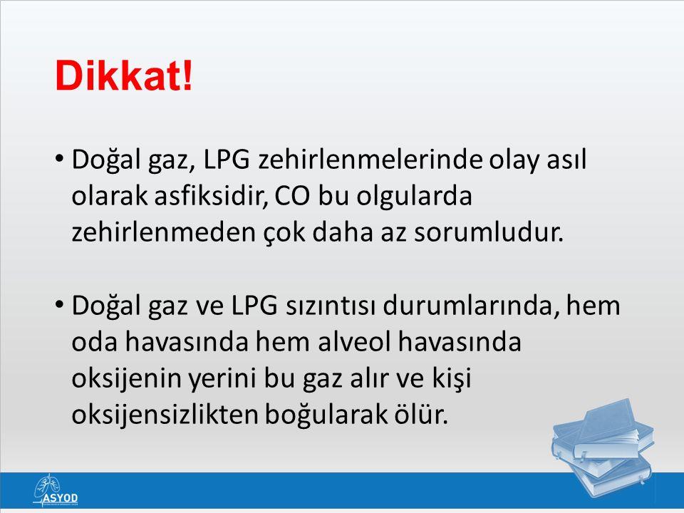 Dikkat! Doğal gaz, LPG zehirlenmelerinde olay asıl olarak asfiksidir, CO bu olgularda zehirlenmeden çok daha az sorumludur. Doğal gaz ve LPG sızıntısı
