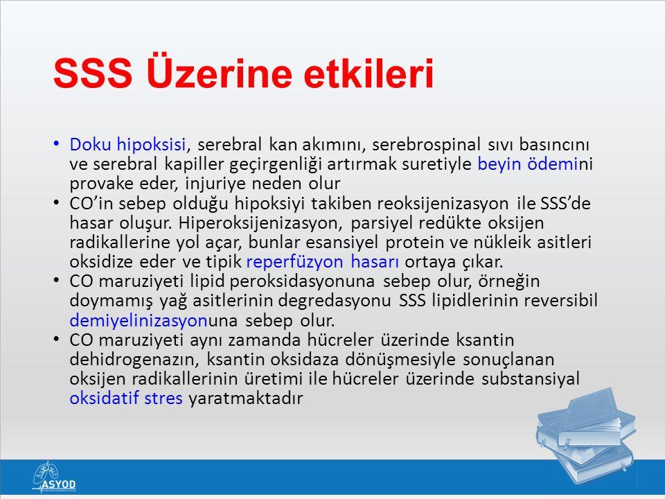SSS Üzerine etkileri Doku hipoksisi, serebral kan akımını, serebrospinal sıvı basıncını ve serebral kapiller geçirgenliği artırmak suretiyle beyin öde