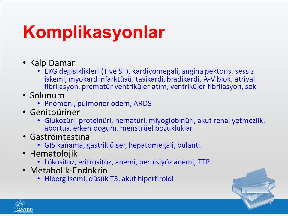 Komplikasyonlar Kalp Damar EKG degisiklikleri (T ve ST), kardiyomegali, angina pektoris, sessiz iskemi, myokard infarktüsü, tasikardi, bradikardi, A-V