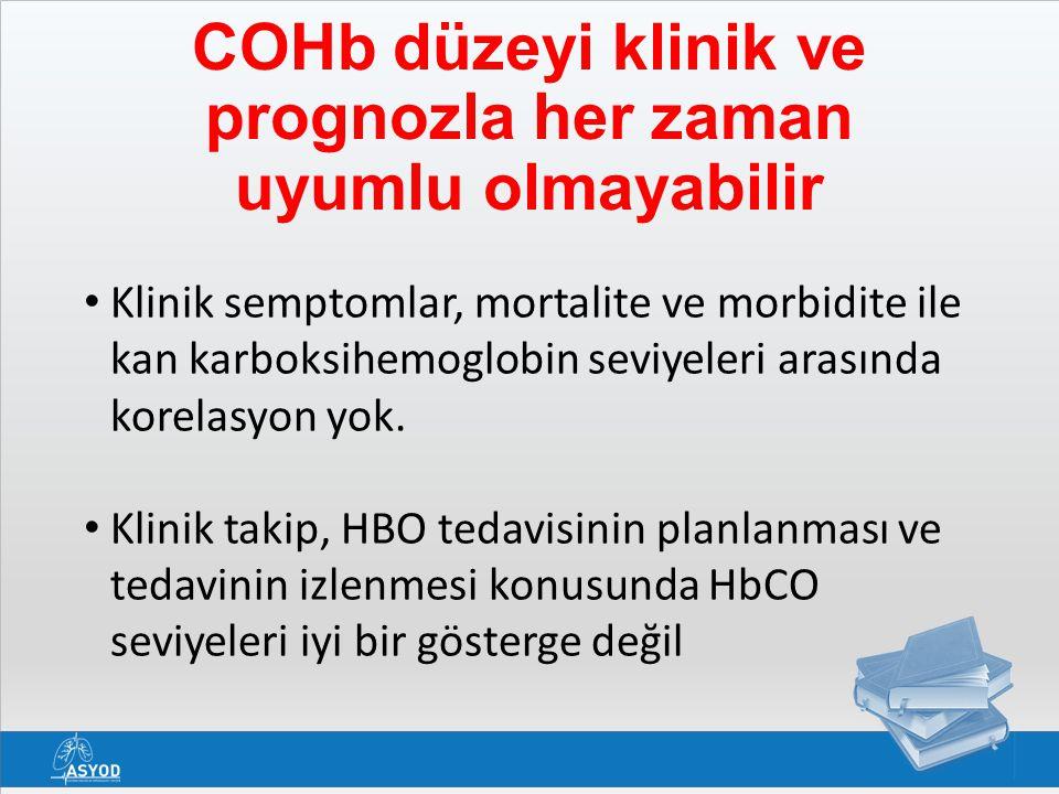 Klinik semptomlar, mortalite ve morbidite ile kan karboksihemoglobin seviyeleri arasında korelasyon yok. Klinik takip, HBO tedavisinin planlanması ve