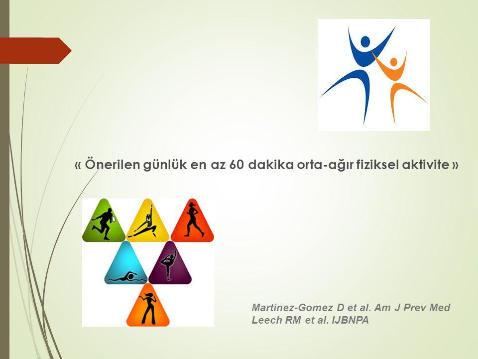 « Önerilen günlük en az 60 dakika orta-ağır fiziksel aktivite » Martinez-Gomez D et al. Am J Prev Med Leech RM et al. IJBNPA