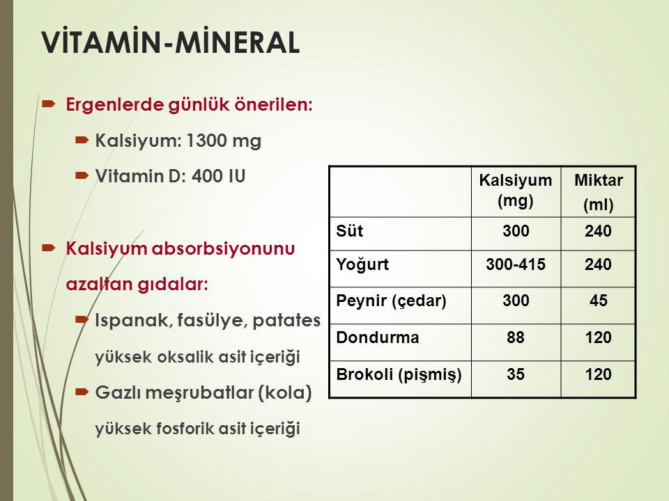 VİTAMİN-MİNERAL  Ergenlerde günlük önerilen:  Kalsiyum: 1300 mg  Vitamin D: 400 IU  Kalsiyum absorbsiyonunu azaltan gıdalar:  Ispanak, fasülye, p