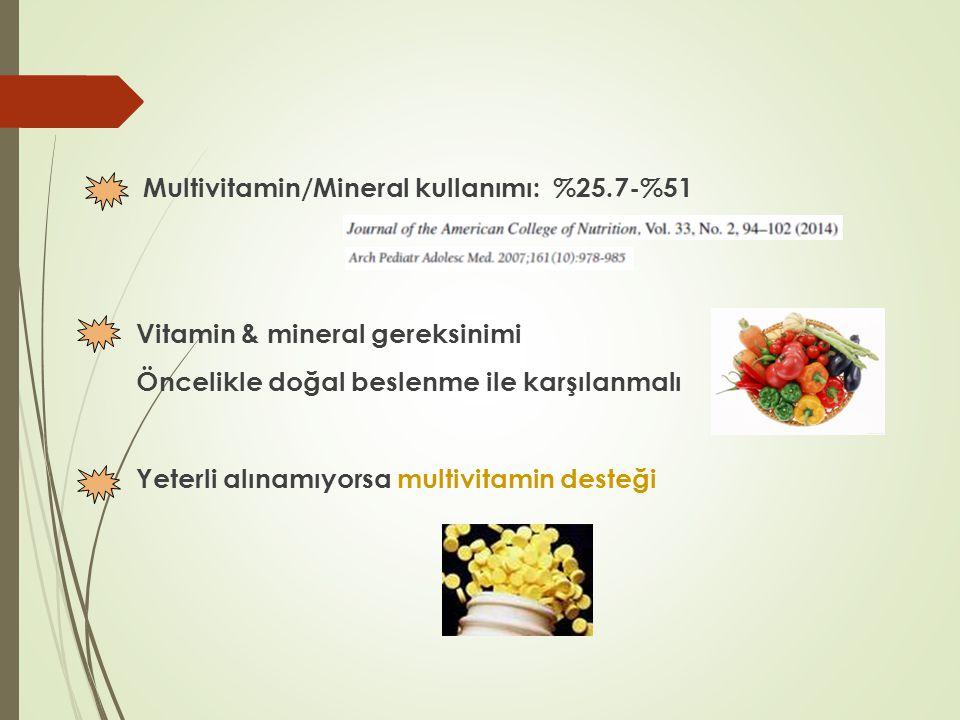 Multivitamin/Mineral kullanımı: %25.7-%51 Vitamin & mineral gereksinimi Öncelikle doğal beslenme ile karşılanmalı Yeterli alınamıyorsa multivitamin de