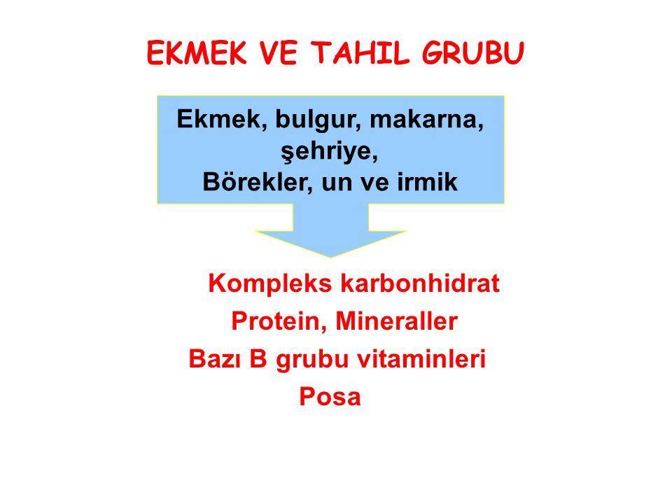 EKMEK VE TAHIL GRUBU Kompleks karbonhidrat Protein, Mineraller Bazı B grubu vitaminleri Posa Ekmek, bulgur, makarna, şehriye, Börekler, un ve irmik