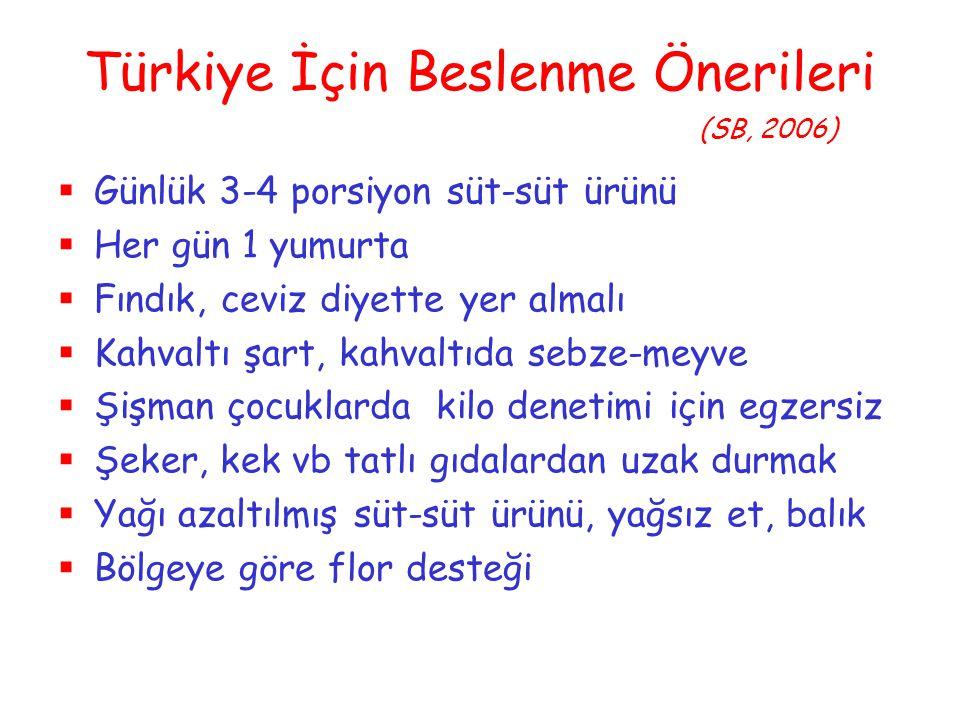 Türkiye İçin Beslenme Önerileri (SB, 2006)  Günlük 3-4 porsiyon süt-süt ürünü  Her gün 1 yumurta  Fındık, ceviz diyette yer almalı  Kahvaltı şart,