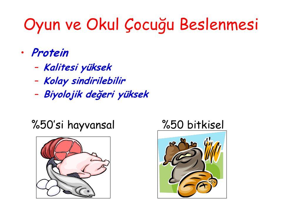  Yumurta (100)  Et (90)  Balık (90)  Süt (85)  Patates (65)  Baklagiller (65) biyolojik değeri yüksek protein içerir; esansiyel aminoasitlerden zengindir.