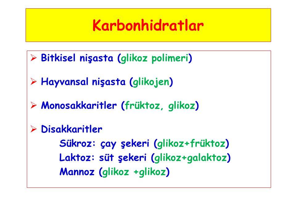 Karbonhidratlar  Bitkisel nişasta (glikoz polimeri)  Hayvansal nişasta (glikojen)  Monosakkaritler (früktoz, glikoz)  Disakkaritler Sükroz: çay şe