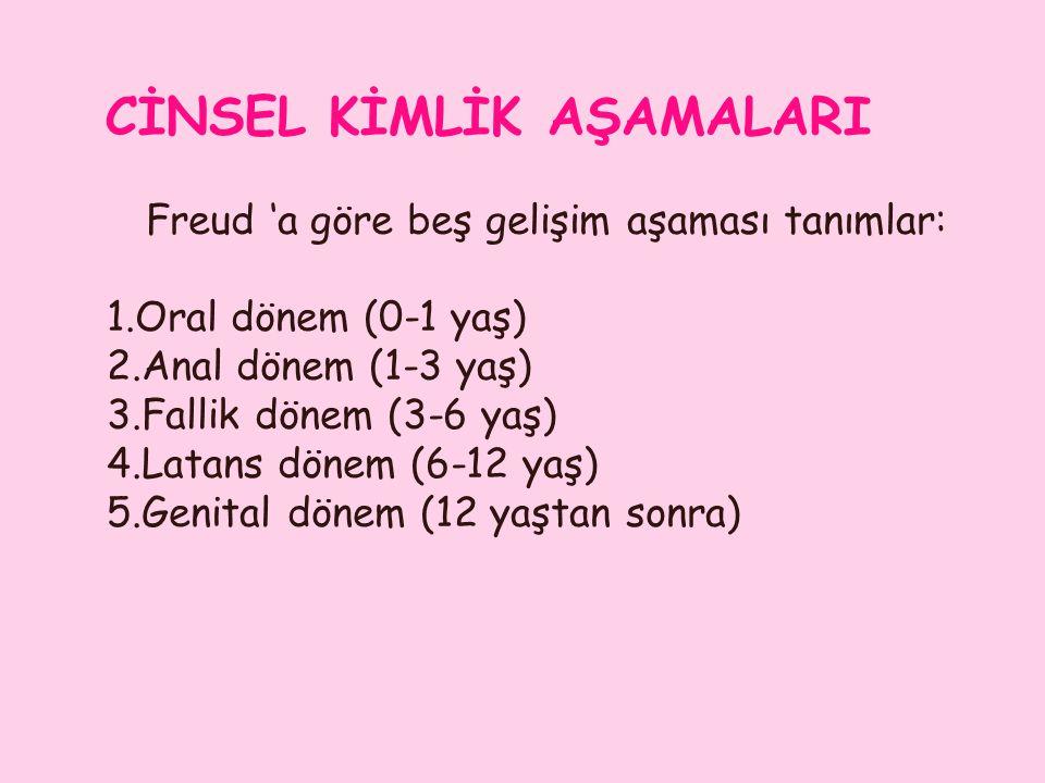 Freud 'a göre beş gelişim aşaması tanımlar: 1.Oral dönem (0-1 yaş) 2.Anal dönem (1-3 yaş) 3.Fallik dönem (3-6 yaş) 4.Latans dönem (6-12 yaş) 5.Genital