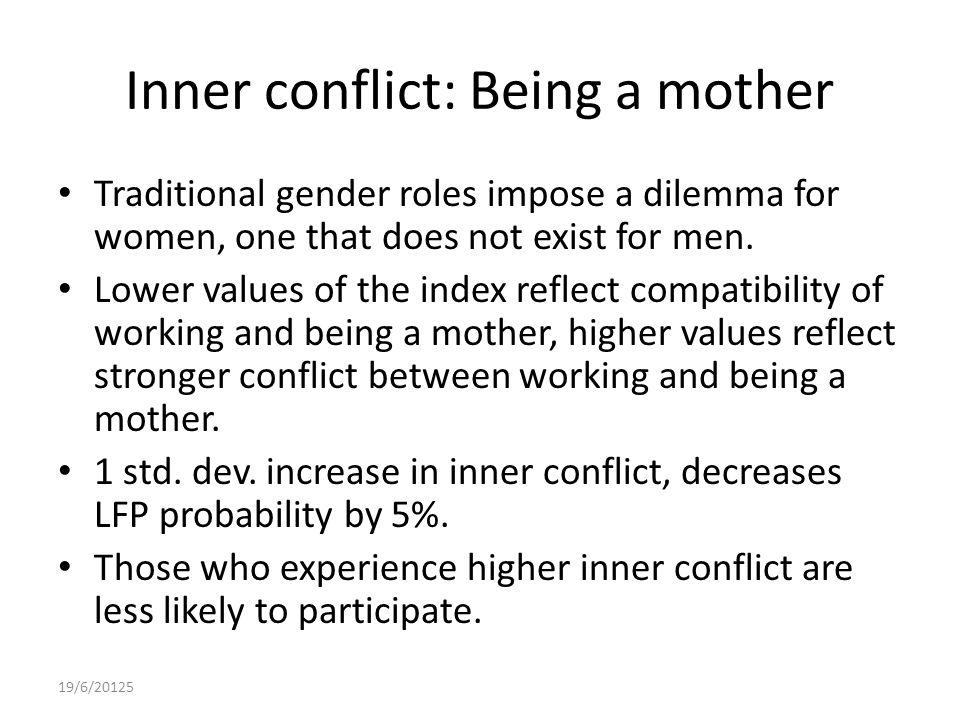 Inner conflict: Being a mother Traditional gender roles impose a dilemma for women, one that does not exist for men.