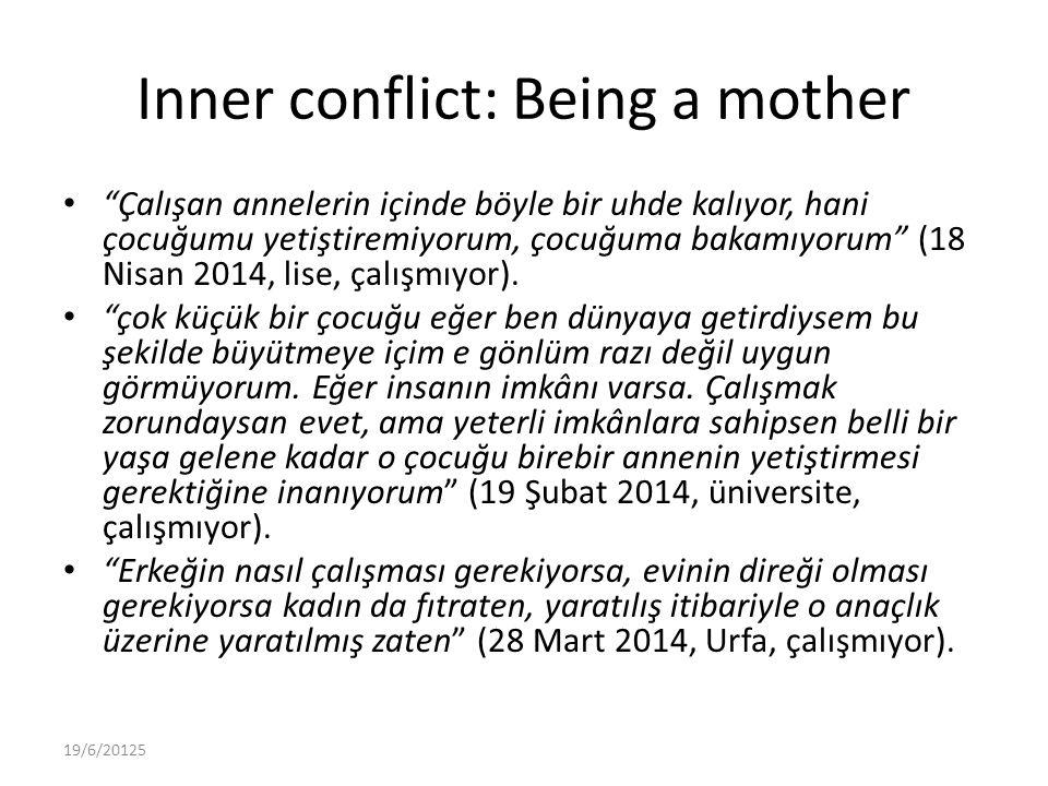 Inner conflict: Being a mother Çalışan annelerin içinde böyle bir uhde kalıyor, hani çocuğumu yetiştiremiyorum, çocuğuma bakamıyorum (18 Nisan 2014, lise, çalışmıyor).