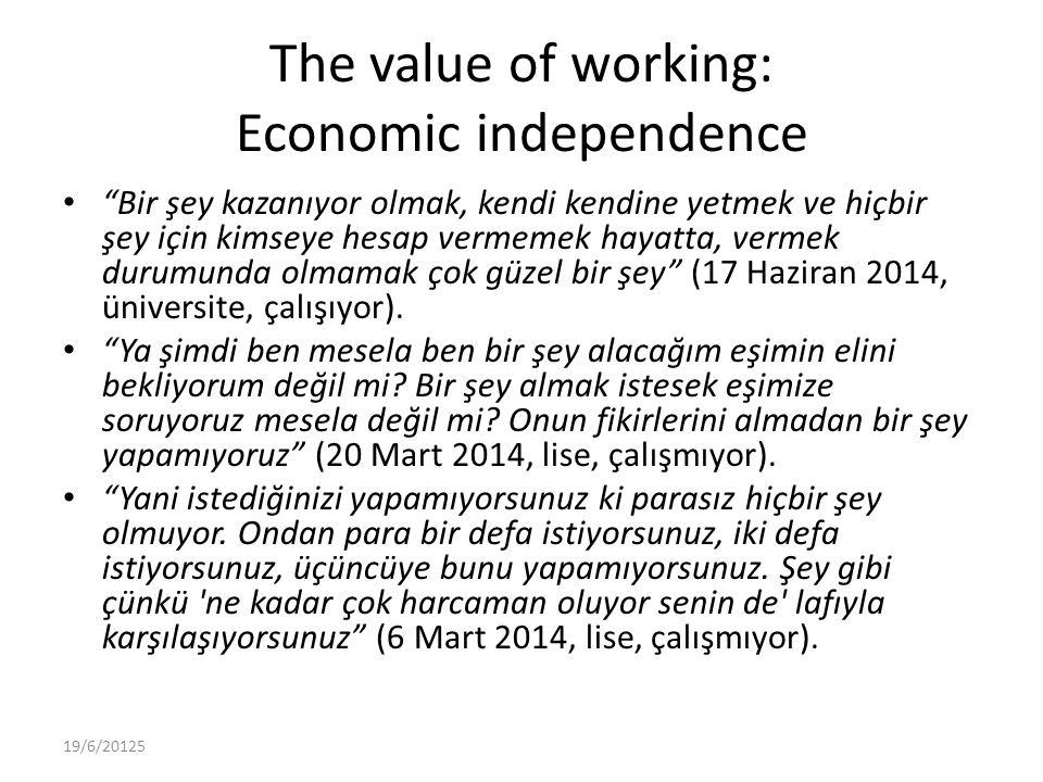 The value of working: Economic independence Bir şey kazanıyor olmak, kendi kendine yetmek ve hiçbir şey için kimseye hesap vermemek hayatta, vermek durumunda olmamak çok güzel bir şey (17 Haziran 2014, üniversite, çalışıyor).
