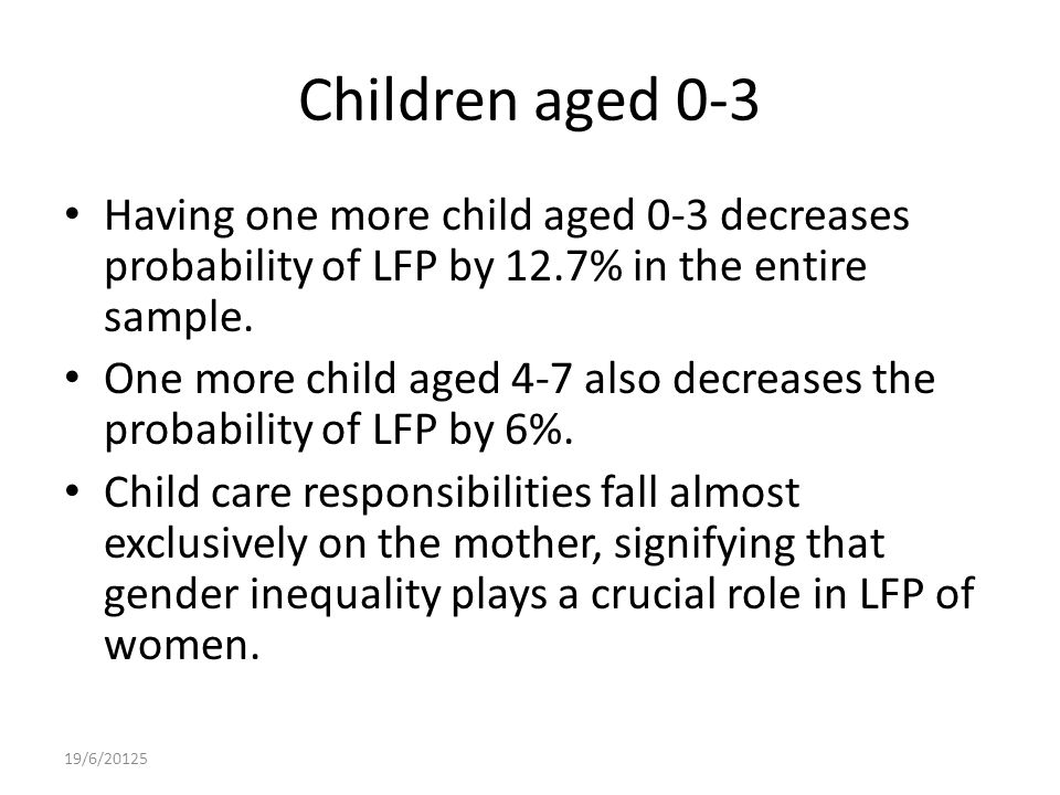 Children aged 0-3 Having one more child aged 0-3 decreases probability of LFP by 12.7% in the entire sample.