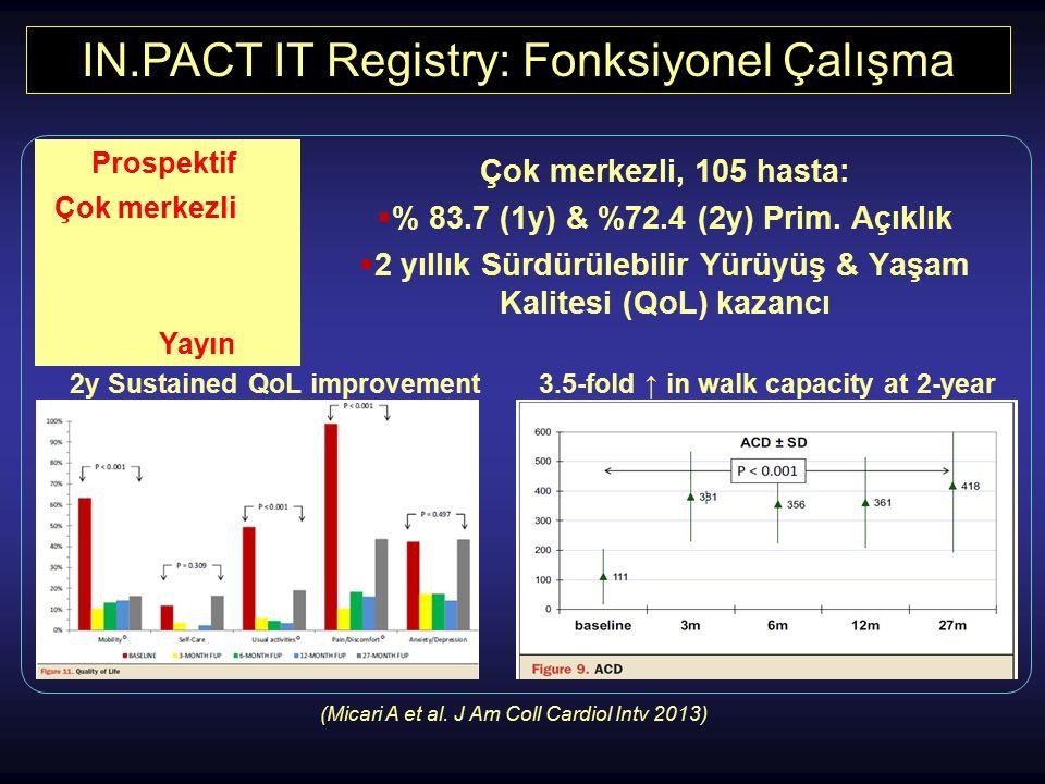 IN.PACT IT Registry: Fonksiyonel Çalışma Çok merkezli, 105 hasta:  % 83.7 (1y) & %72.4 (2y) Prim. Açıklık  2 yıllık Sürdürülebilir Yürüyüş & Yaşam K