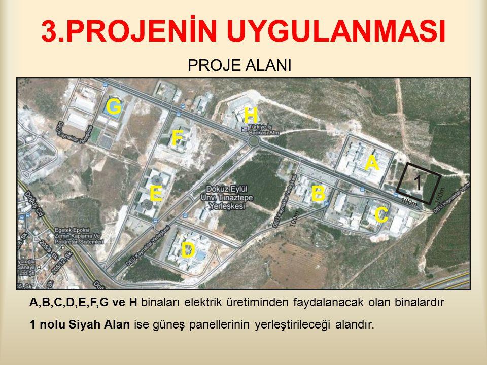 3.PROJENİN UYGULANMASI PROJE ALANI A,B,C,D,E,F,G ve H binaları elektrik üretiminden faydalanacak olan binalardır 1 nolu Siyah Alan ise güneş panellerinin yerleştirileceği alandır.
