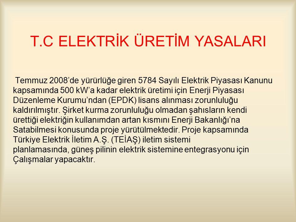 T.C ELEKTRİK ÜRETİM YASALARI Temmuz 2008'de yürürlüğe giren 5784 Sayılı Elektrik Piyasası Kanunu kapsamında 500 kW'a kadar elektrik üretimi için Enerji Piyasası Düzenleme Kurumu'ndan (EPDK) lisans alınması zorunluluğu kaldırılmıştır.