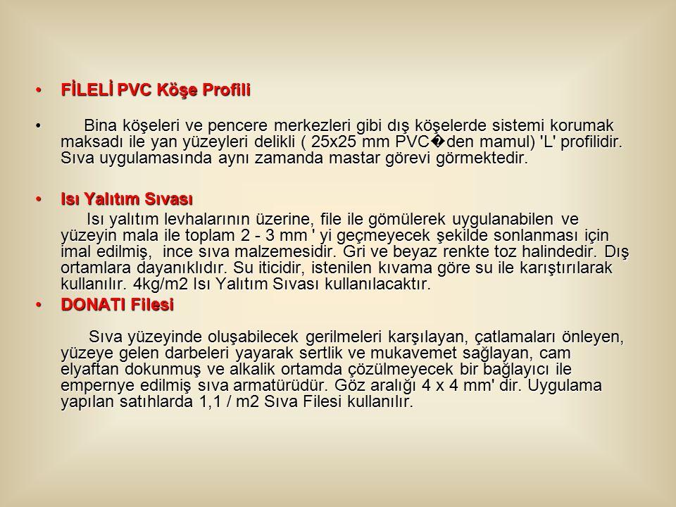 FİLELİ PVC Köşe ProfiliFİLELİ PVC Köşe Profili Bina köşeleri ve pencere merkezleri gibi dış köşelerde sistemi korumak maksadı ile yan yüzeyleri delikli ( 25x25 mm PVC � den mamul) L profilidir.