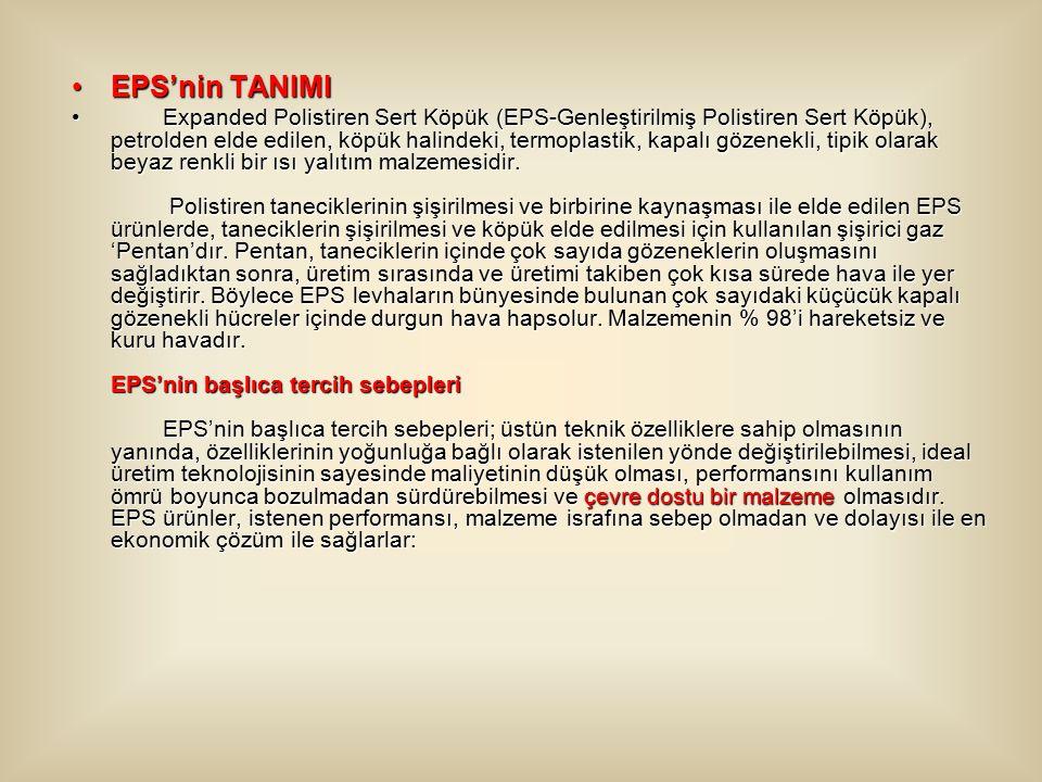 EPS'nin TANIMIEPS'nin TANIMI Expanded Polistiren Sert Köpük (EPS-Genleştirilmiş Polistiren Sert Köpük), petrolden elde edilen, köpük halindeki, termoplastik, kapalı gözenekli, tipik olarak beyaz renkli bir ısı yalıtım malzemesidir.
