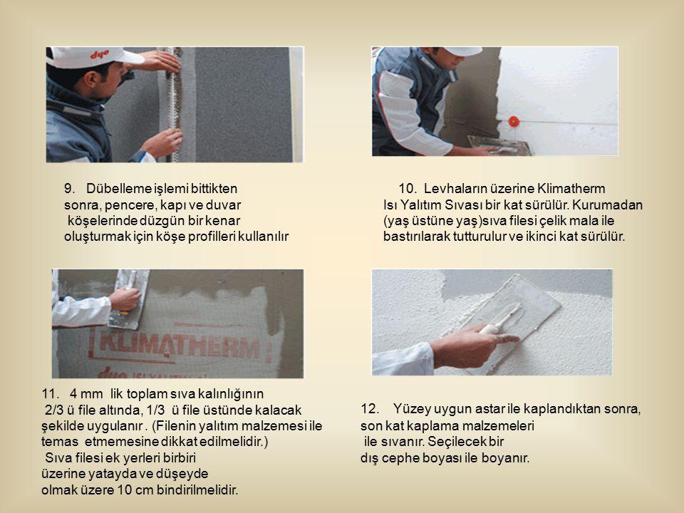 9. Dübelleme işlemi bittikten sonra, pencere, kapı ve duvar köşelerinde düzgün bir kenar oluşturmak için köşe profilleri kullanılır 10. Levhaların üze