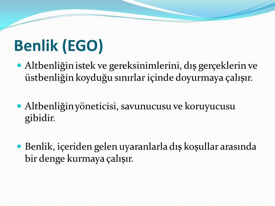 Benlik (EGO) Altbenliğin istek ve gereksinimlerini, dış gerçeklerin ve üstbenliğin koyduğu sınırlar içinde doyurmaya çalışır. Altbenliğin yöneticisi,