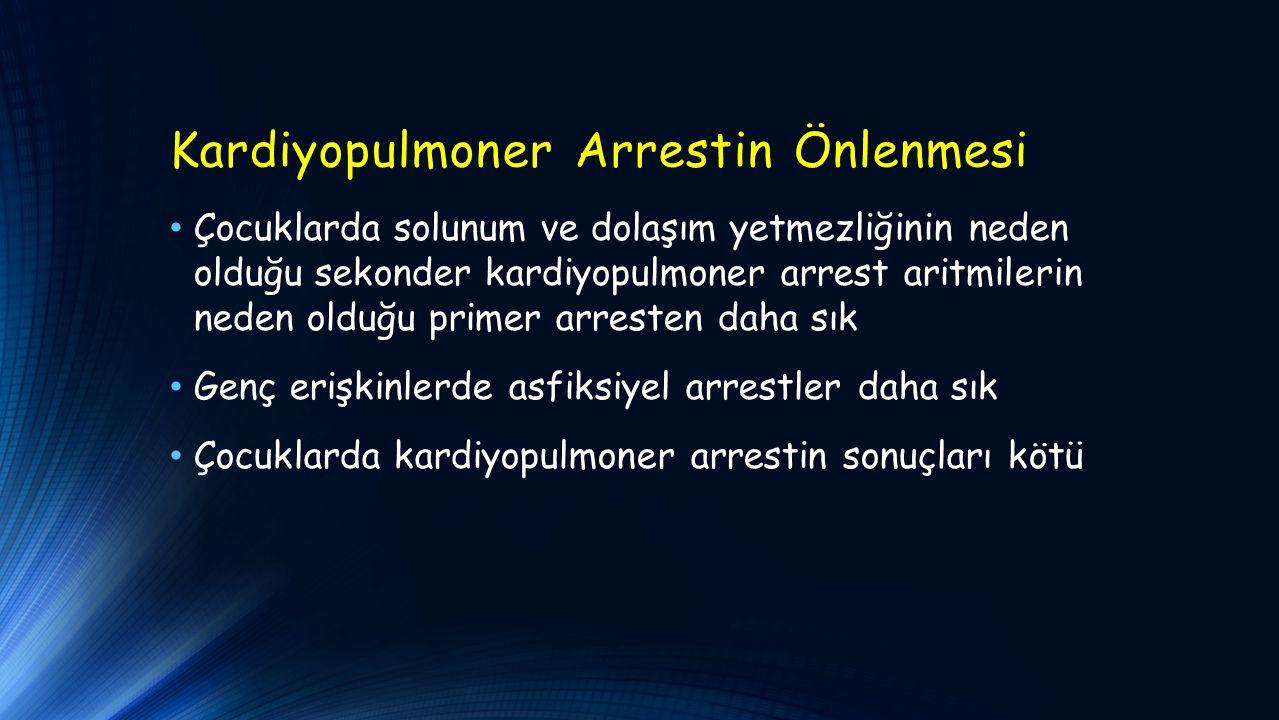 Kardiyopulmoner Arrestin Önlenmesi Çocuklarda solunum ve dolaşım yetmezliğinin neden olduğu sekonder kardiyopulmoner arrest aritmilerin neden olduğu p