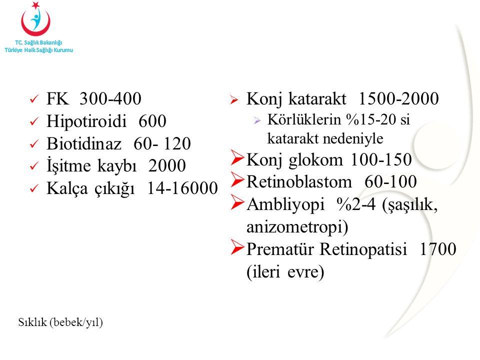 Sıklık (bebek/yıl) FK 300-400 Hipotiroidi 600 Biotidinaz 60- 120 İşitme kaybı 2000 Kalça çıkığı 14-16000  Konj katarakt 1500-2000  Körlüklerin %15-20 si katarakt nedeniyle  Konj glokom 100-150  Retinoblastom 60-100  Ambliyopi %2-4 (şaşılık, anizometropi)  Prematür Retinopatisi 1700 (ileri evre)