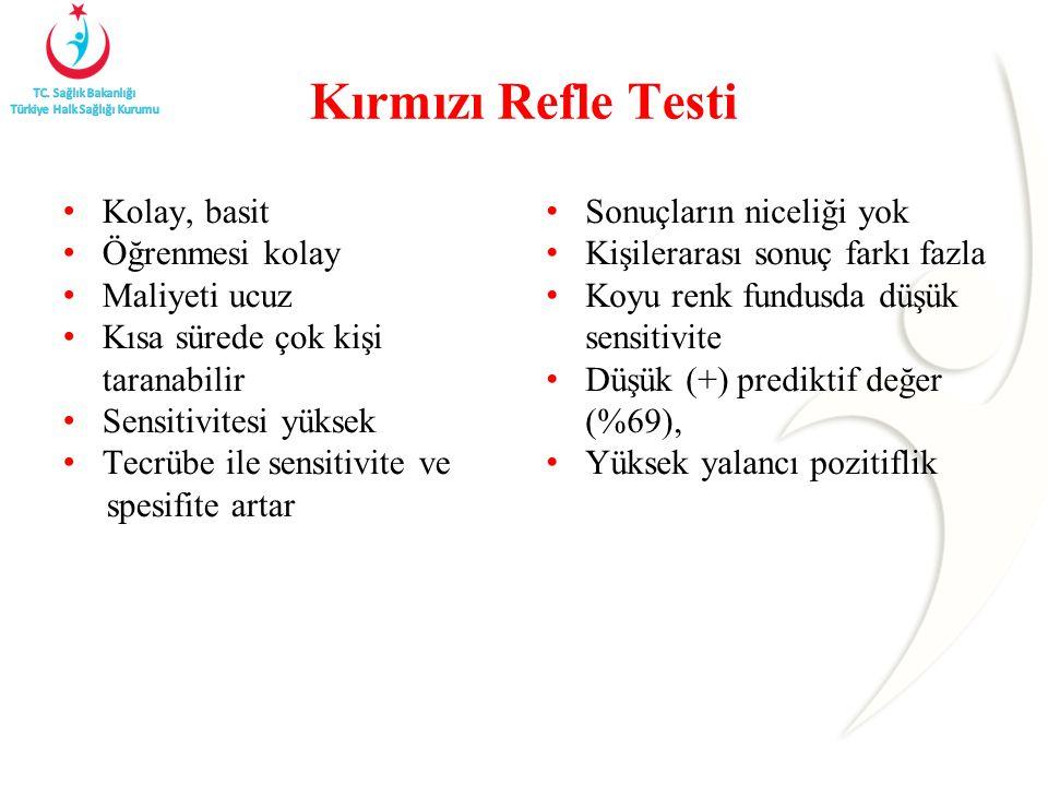Kırmızı Refle Testi Kolay, basit Öğrenmesi kolay Maliyeti ucuz Kısa sürede çok kişi taranabilir Sensitivitesi yüksek Tecrübe ile sensitivite ve spesif