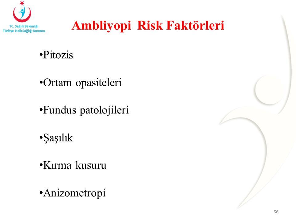 Pitozis Ortam opasiteleri Fundus patolojileri Şaşılık Kırma kusuru Anizometropi 66 Ambliyopi Risk Faktörleri