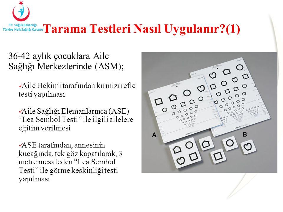 Tarama Testleri Nasıl Uygulanır?(1) 36-42 aylık çocuklara Aile Sağlığı Merkezlerinde (ASM); Aile Hekimi tarafından kırmızı refle testi yapılması Aile