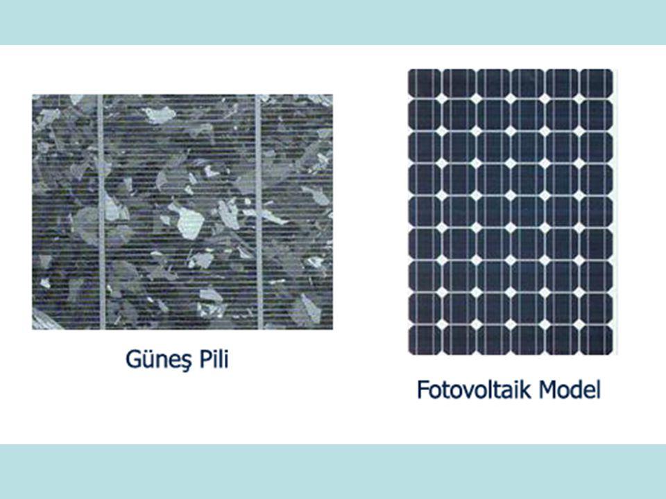 Fotovoltaik Hücrelerin Yapımında Kullanılan Malzemeler Kristal Silisyum Galyum Arsenit(GaAs) Amorf Silisyum Kadmiyum Tellürid(CdTe) Bakır İndiyum Diselenid(CuInSe2) Optik Yoğunlaştırıcılı Hücreler