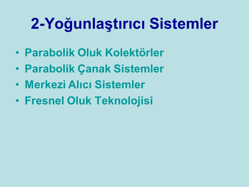 2-Yoğunlaştırıcı Sistemler Parabolik Oluk Kolektörler Parabolik Çanak Sistemler Merkezi Alıcı Sistemler Fresnel Oluk Teknolojisi