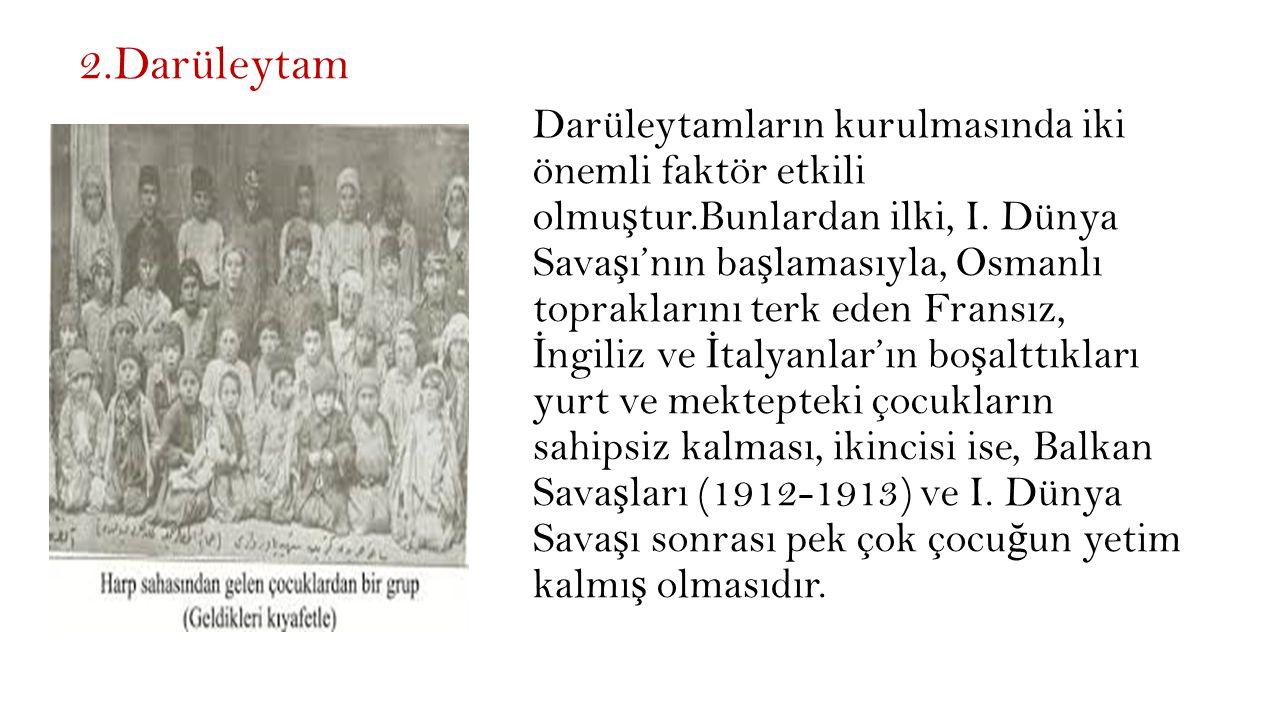 2.Darüleytam Darüleytamların kurulmasında iki önemli faktör etkili olmu ş tur.Bunlardan ilki, I.