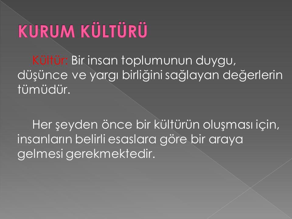Kültür: Bir insan toplumunun duygu, düşünce ve yargı birliğini sağlayan değerlerin tümüdür.