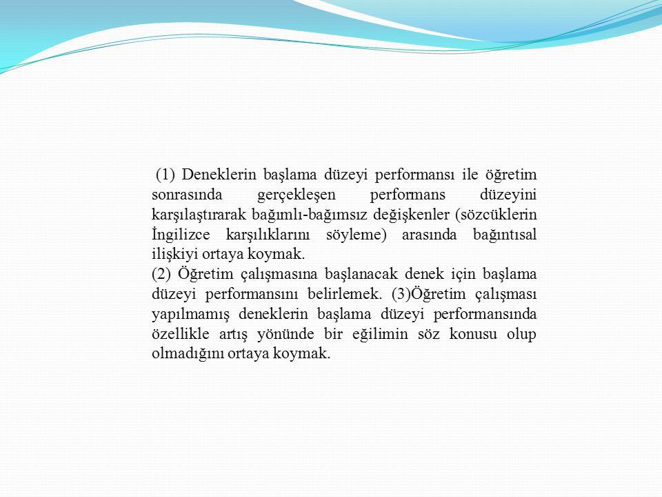 (1) Deneklerin başlama düzeyi performansı ile öğretim sonrasında gerçekleşen performans düzeyini karşılaştırarak bağımlı-bağımsız değişkenler (sözcükl