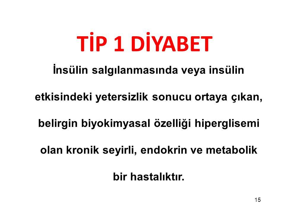 15 TİP 1 DİYABET İnsülin salgılanmasında veya insülin etkisindeki yetersizlik sonucu ortaya çıkan, belirgin biyokimyasal özelliği hiperglisemi olan kr