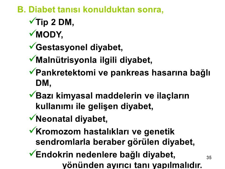 35 B. Diabet tanısı konulduktan sonra, Tip 2 DM, MODY, Gestasyonel diyabet, Malnütrisyonla ilgili diyabet, Pankretektomi ve pankreas hasarına bağlı DM
